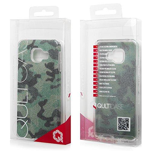 EGO ® Glitzer Schutzhülle für iPhone 7, Camouflage Grün Back Case Bumper Glänzend Transparente TPU Bling Weiche Glamour Handy Cover Lipgloss Camouflage Grün + Glas