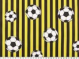 Baumwoll-Druck, Fußball und Streifen, gelb-schwarz, 140cm