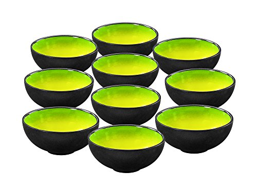 10er SET CreaTable HOT GREEN Dipschale 11,5 cm/Tapasschale/Steinzeug/Schale