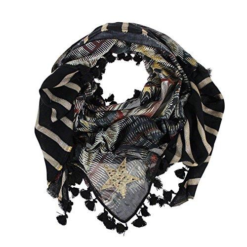 panno Yippie Hippie Fandango con nappe della stella scialle fazzoletto da collo del modello della sciarpa scialle Black Gold