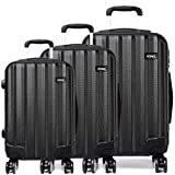"""Kono Luggage Sets ABS Hard Shell Suitcases 3 Pieces 20"""" 24"""" 28"""" Inches 4 Wheels Suitcase"""