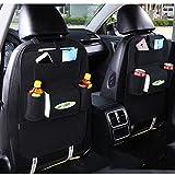 Auto Filz Rücksitzorganizer,2pcs Auto Organizer Rücksitz Rückenlehnenschutz Rücksitzschoner Auto Aufbewahrungsbeutel mit Tasche (Schwarz)