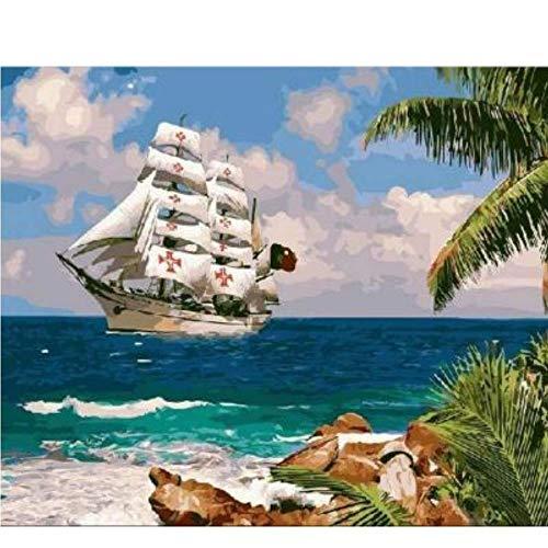 ayuxin W113 sinkende Schiff unter Meer Malen nach Zahlen Leinwand Malerei Home Decor Malen nach Zahlen - Schiff Sinkende