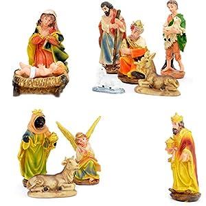 Gifts 4 All Occasions Limited SHATCHI-1166 Shatchi - Juego de 12 figuras individuales de Jesucristo y Jesucristo para decoración navideña, multicolor