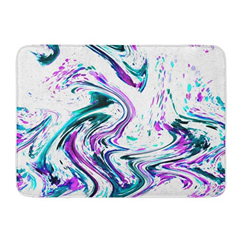 LIS HOME Badematte Flanell Stoff weich saugfähig abstrakte Aquarell Marmor Seide lila rosa grün blau Emerald Azure gemütliche dekorative rutschfeste Memory Badezimmer Teppich -