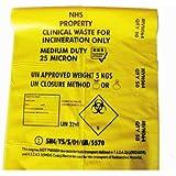 Desechos clínicos bolsa de color amarillo de resistencia mediana