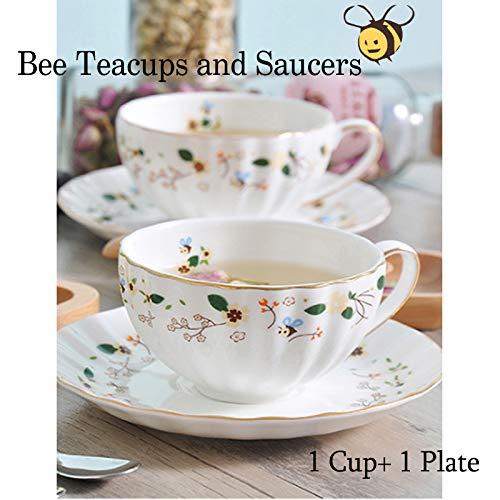 Biene Teetassen und Untertassen Keramik Teetasse Tasse Kaffee Mit Untertasse Blumen 1 Satz