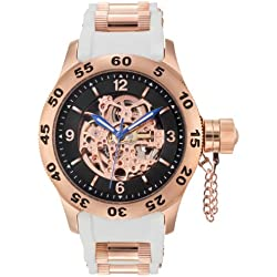 Rougois Rose Gold Automatic Skeleton Dial Diver Watch with White Band