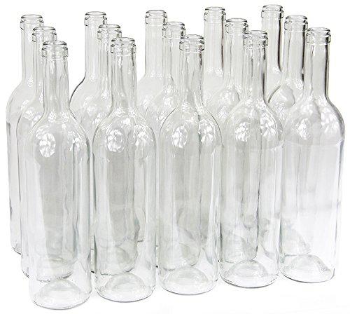 Weinflasche 750 ml ohne/mit Korken Glasflasche leere Flasche Likör Wein 3 Farben (24 Stk. ohne Korken, Weiß)