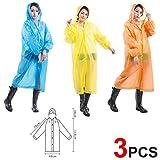 3 Pcs PVC erwachsene Universal Kleidung Poncho mit Ärmeln Einfaches Tragen Im Freien Emergency Backup Einweg Regenmantel Halten Sie den Regen für Camping /Bergsteigen in 3 verschiedenen Farben