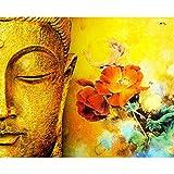 DAMENGXIANG DIY Hand Gemalt Digitale Ölbild Buddha Statue Mit Blume Moderne Abstrakte Kunst Bilder Für Wohnzimmer Home Decor 40 × 50 cm Mit Rahmen