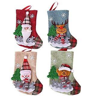 CUHAWUDBA Conjunto de Calcetines de Navidad Santa Claus Elk Candy Gift Bag áRbol de Navidad DecoracióN Colgante Colgante JoyeríA