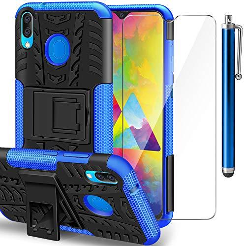 ivencase Samsung Galaxy M20 Hülle+ Schutzfolie, Galaxy M20 TPU Series Dual Layer Hybrid Handyhülle Drop Resistance Handys Schutz Hülle mit Ständer für Samsung Galaxy M20 Blau