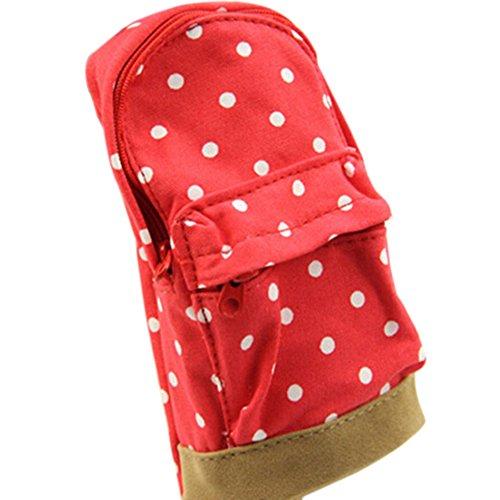 Mini School Bag Pen Case Student's Canvas Pencil Case Children Pen Bag (Red) by Broadfashion - Cartella Pouch