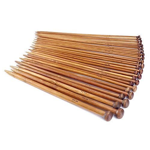 JZK® Kit tejer 18 pares 36 piezas profesional bambú