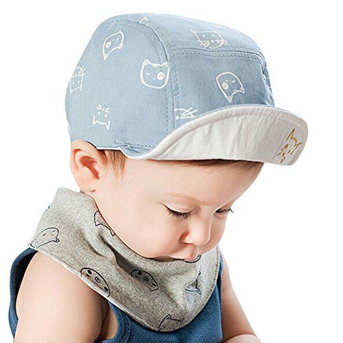 SANFASHION Jungen Mädchen Sonnenhut Cute Infant Baby Kids Comfortable Bongrace Hat Peak Cap Cat Kitten Cartoon Baseballmütze (Blau)