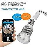Hangang Fisheye 360 gradi HD Wireless WIFI IP telecamera panoramica nascosta Spy Cam 1536P HD lampada lampadina interna di sicurezza domestica di sorveglianza per iPhone Android (1280 * 920p)