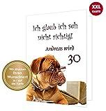 Große Klappkarte zum Gratulieren für Geburtstag - mit Wunschtext - in jedes Alter ändern! Inklusive Umschlag. XXL DIN A4.