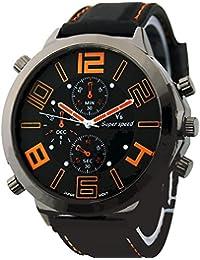 CursOnline Elegante Reloj de Cuarzo Para Hombre, Talla XXL, Diseño de Deportes Pulsera de Goma y Altavoz Acero V6 mod. 44-14