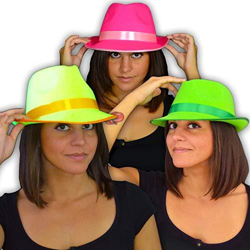 EVENT LIGHTS NEON UV Party Hut - 3 Stück Set - Leuchten im Schwarzlicht - UV aktiv - 3 Farben Set: gelb, grün, pink