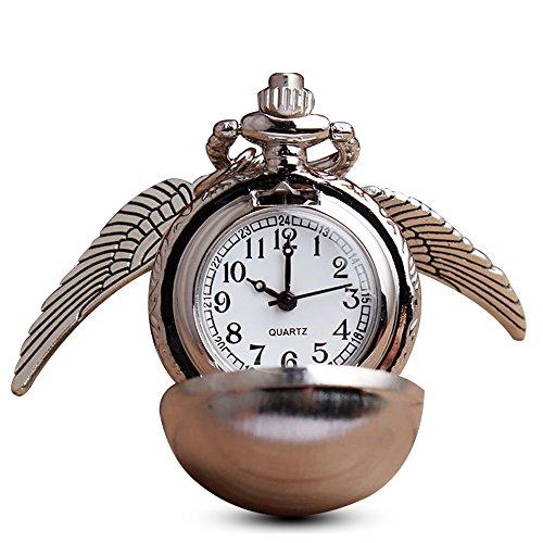 Moderne Boule en argent vif d'ailes montre de poche avec chaîne pour les fans, à quartz collier montre gousset Pendentif + Boîte