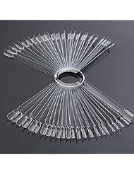 Muñeca 50pc Clear & Naturaleza transparente False Nail Art Polaco Display Práctica Fan Junta Kit de herramientas