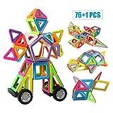 infinitoo Blocs Construction Magnétiques | 76 Pièces Jeux de Construction Magnetique Colorée| Jouet et Cadeau Educatif et Instructif pour Enfants 3+