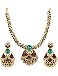 Jewels Gold Traditional Antique Party Wear & Wedding Contemporary Latest Designer Necklace With Earrings Set Set...