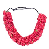 Majik New Style Flowers Hair Accessories 3D Hair Style Gajra For Women (Red), 15 Gram, Pack Of 1