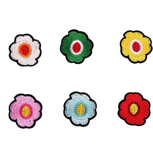 Lumanuby 6x Blume Stickerei Patch für Kinder Kleidung Stickerei Applikationen Aufnäher von Tri-Farbe Blume für Bluse/Jackie/T-shirt, Aufnäher Serie size 4.7*4.9cm