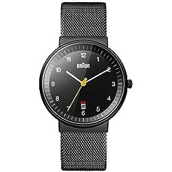 Braun BN0032BKBKMHG - Reloj analógico de caballero de cuarzo con correa de acero inoxidable negra