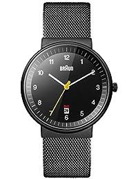 Braun BN0032BKBKMHG - Reloj análogico de cuarzo con correa de acero inoxidable para hombre, color negro