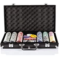 Grandma Shark Texas Holdm Poker Chips with Aluminum Case Blackjack Gambing with Carrying Case and Casino Chlps 2 Decks of Cards Dealer Small Blind Big Blind Buttons and 5 Dice (BLACK(300pcs))