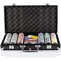 Grandma Shark Texas Holdem Poker Chips Conjunto con Caso de Aluminio Blackjack Juego con maletín de Transporte y 2 Barajas de Tarjetas Dealer pequeños Ciegos Grandes Botones Ciegos y 5 Dados (300pcs)