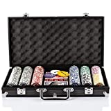 Grandma Shark Poker Chips with Aluminum Case Blackjack Gambing with Carrying Case And Casino Chlps 2 Decks of Cards Dealer Small Blind Big Blind Buttons And 5 Dice (Black/300pcs)