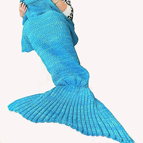 Stricken Mermaid Schwanz Decke Adult Style, Häkeln Wirft Decke für Wohnzimmer / Sofa / Schlafzimmer / Camping (Streifen Hellblau, 74.8x 35.4Zoll)