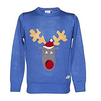 Crazy Granny Reggie Reindeer Unisex Christmas Knitted Jumper - Small Blue Reindeer