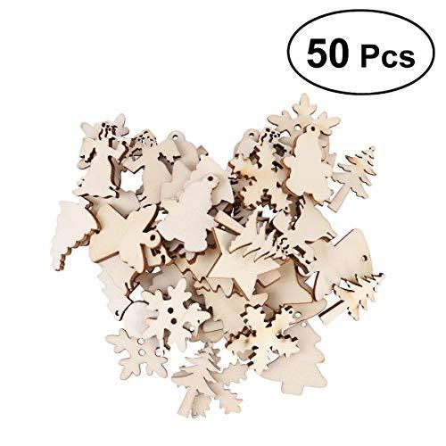 7°MR Etiketten 50PCS Holz Baum Schneemann Snowflake 12 Mixed Shaped Unfinished hängende Verzierung DIY Kunst Handwerk Dekoration
