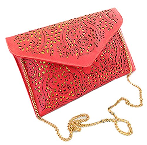 HandBagCrave® Umschlaghandtasche handtasche Patent Krokodil Cutout Schlange Nieten Schultertaschen (Ausgeschnitten Pink) (Patent Ausgeschnitten)