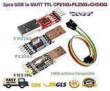 TECNOIOT 3pcs USB to Ttl Module 1pc PL2303 + 1pc CP2102 + 1pc CH340G USB UART Module | Modulo Adattatore seriale da USB a Ttl: 1pc con chipset PL2303 + 1pc con chipset CP2102 + 1pc con chipset CH340G