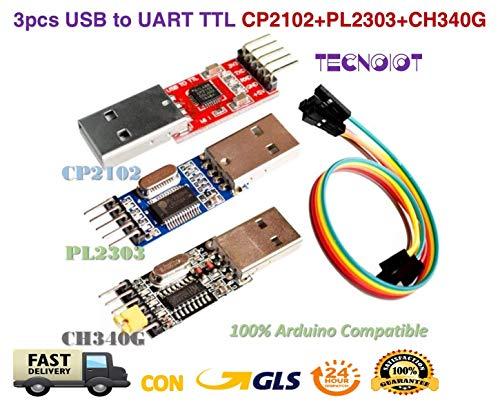 3pcs USB to TTL Module 1pc PL2303 + 1pc CP2102 + 1pc CH340G USB UART Module | USB zu TTL serial adapter modul: 1 stück mit PL2303 + 1 stück chipsatz mit CP2102 + 1 stück chipsatz mit CH340G chipset (Adapter Usb-uart)