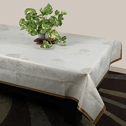 STITCHNEST Plastic Table Cover 40 x 60 inches 4 Seater White Table...