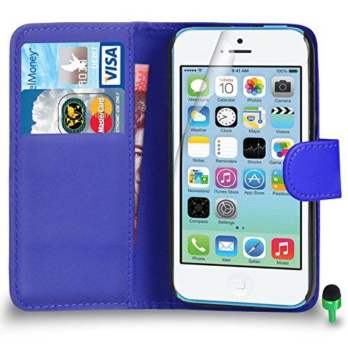 POUR Apple iPhone 5C - SHUKAN® Prime Cuir NOIR Portefeuille Cas Coque Couverture VERT Cap Protecteur d'écran & Tissu de polissage BLEU
