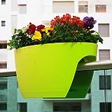 Fioriera da balcone Greenbo, verde, Extralarge 34cm x 60cm x 30cm(h)