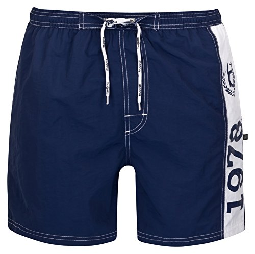 bugatti® - Herren Badeshorts in schwarz, marineblau oder hellblau Marine/Weiß