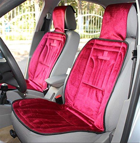 RUIRUI 12V Winter Velvet Beheizbare Sitzauflage Auto-Sitzkissen , red