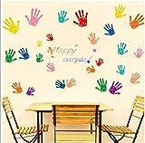 ZBYLL Wall Sticker Bunte Handabdrücke Schlafzimmer Wänden dekorative Aufkleber umweltfreundliche PVC