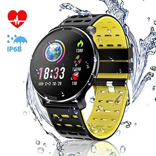 Imagen de canmixs pulsera de actividad smartwatch, cm10 pulsera inteligente impermeable ip68 reloj deportivo para deporte, podómetro, monitor de ritmo, calorías para android y ios teléfono móvil hombres mujeres