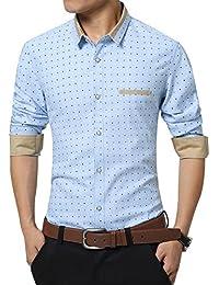 Zicac Herren Hemd Slim Fit Kentkragen Langarm Hemd Modern Atmungsaktiv für Business Freizeit