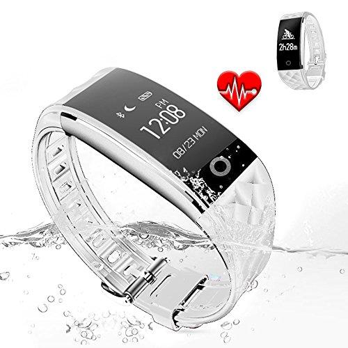 Jcotton Bluetooth Smart Watch IP67 Wasserdichte Smart Armband Herzfrequenz-Monitor Sport Wristband Fitness Tracker Multi-Sport-Modus Gesundheit Monitor Pedometer Anruf Nachricht Erinnerung für IOS Android Phone (weiß)